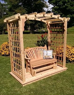 6 Ft Cambridge Handcrafted Patio Porch Outdoor Garden Cedar Arbor With Deck & Glider
