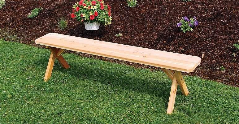 Outdoor Garden Furniture Crossleg Bench Only Made In USA