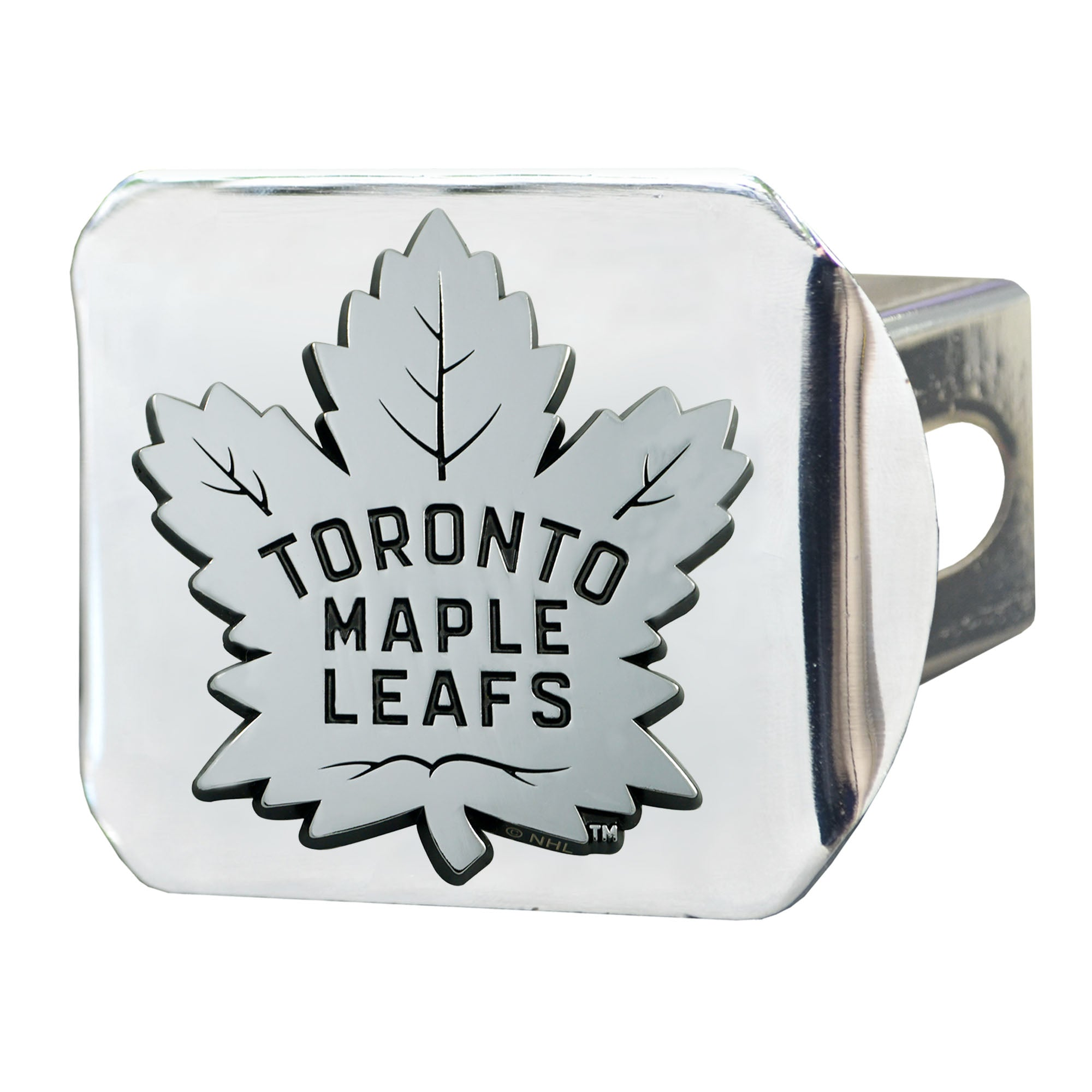 "NHL - Toronto Maple Leafs Hitch Cover - Chrome on Chrome 3.4""x4"""