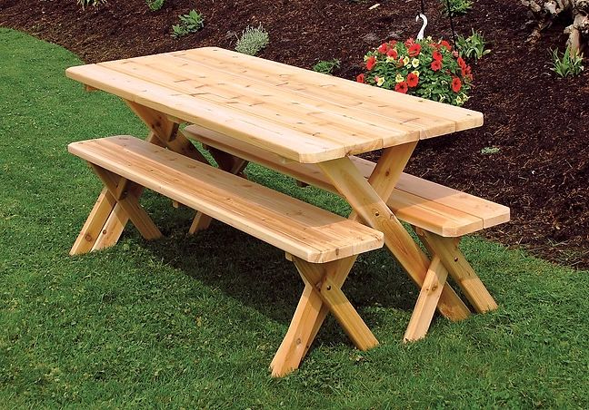 Outdoor Garden Furniture Cross-leg Table With 2 Benches