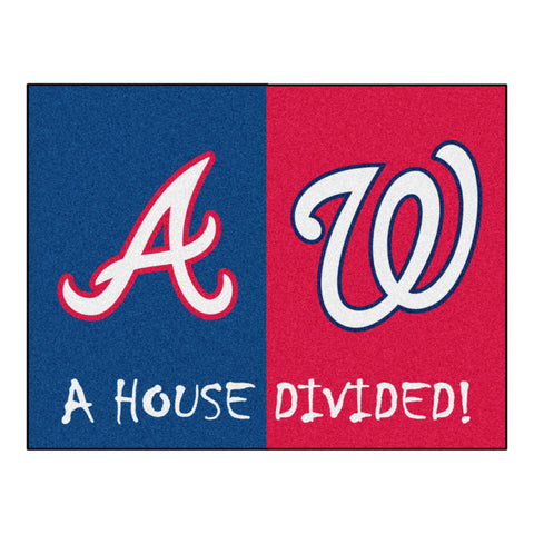 "MLB House Divided - Braves / Nationals House Divided Mat 33.75""x42.5"""