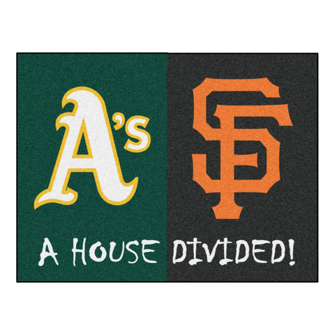 "MLB House Divided - Athletics / Giants House Divided Mat 33.75""x42.5"""