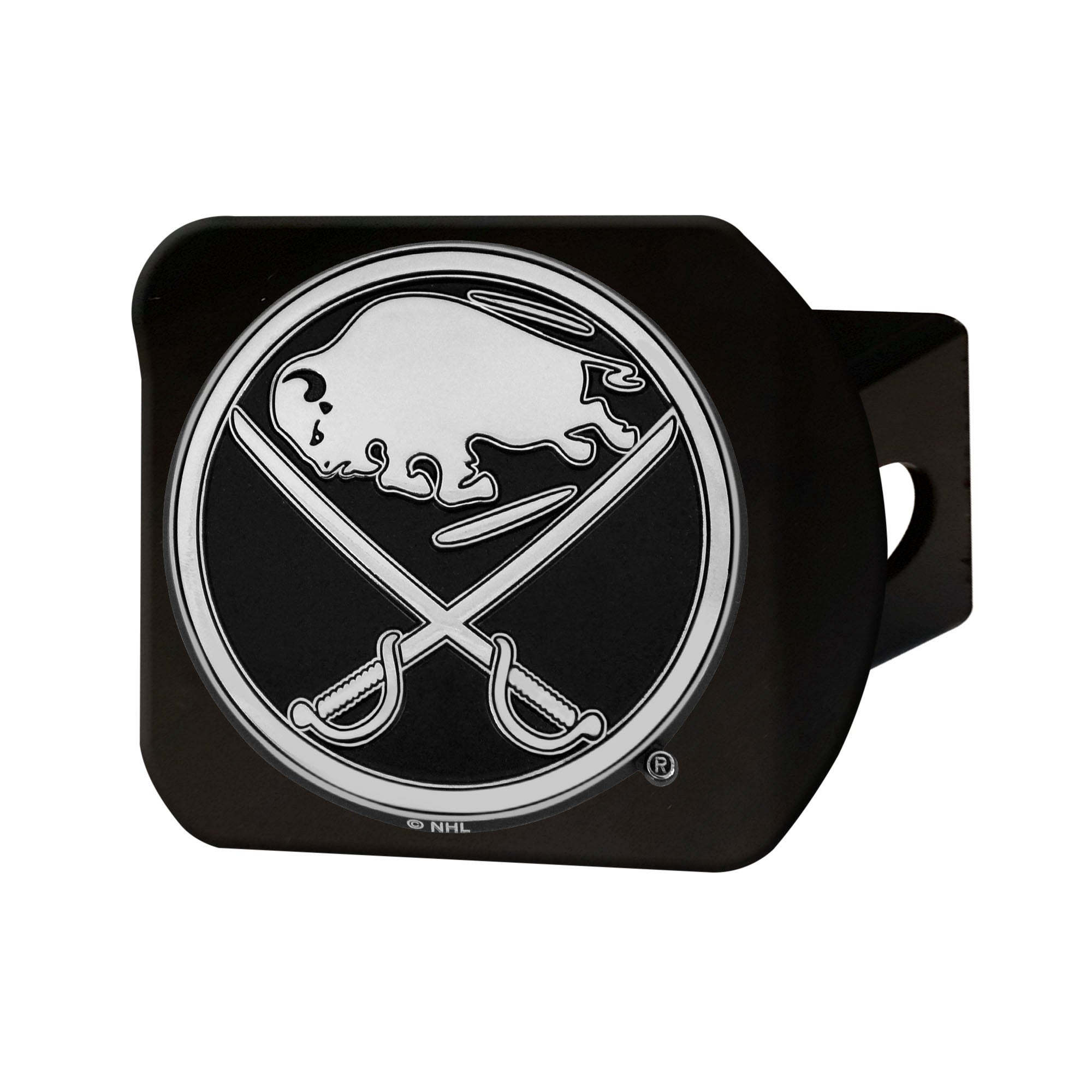 "NHL - Buffalo Sabres Hitch Cover - Chrome on Black 3.4""x4"""
