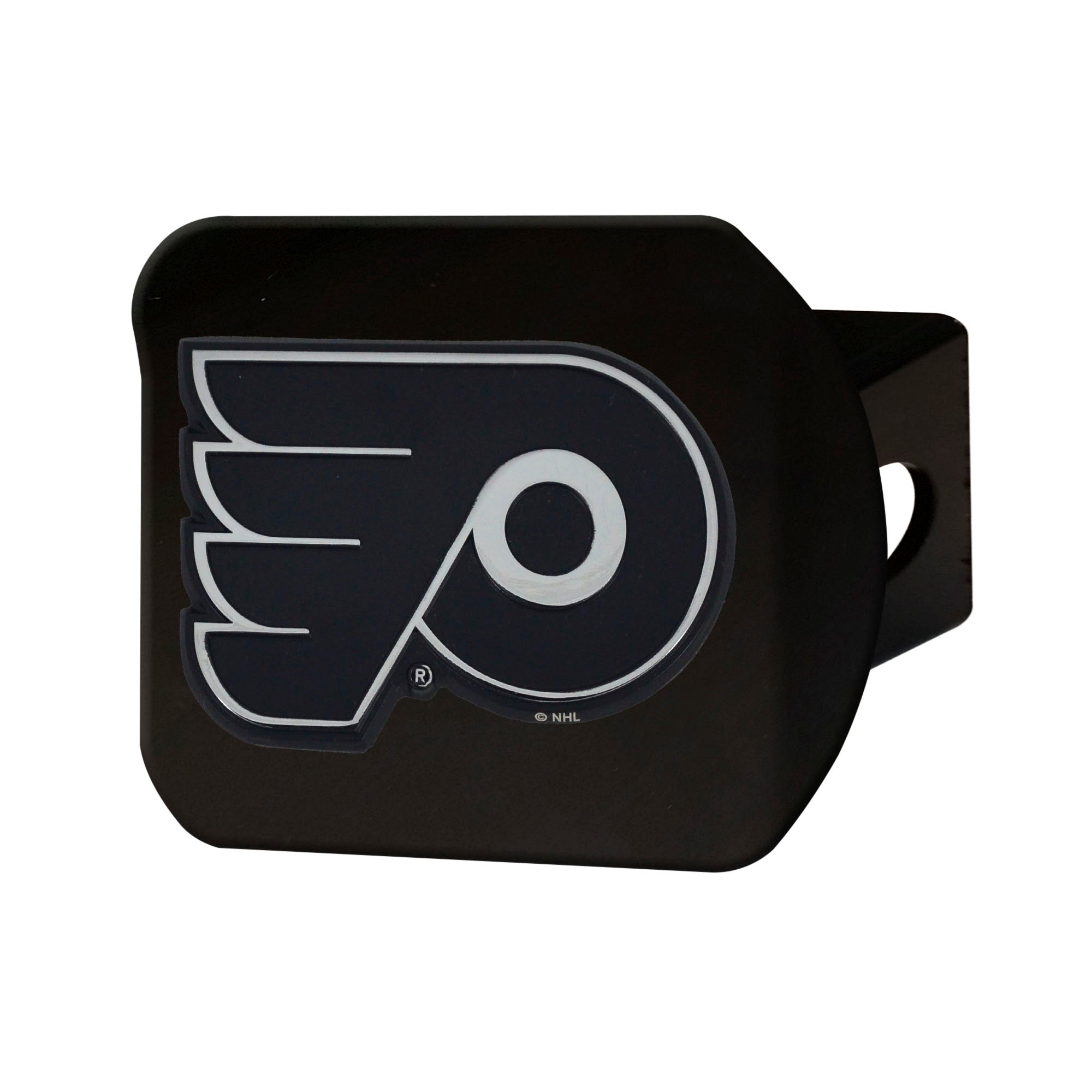 "NHL - Philadelphia Flyers Hitch Cover - Chrome on Black 3.4""x4"""