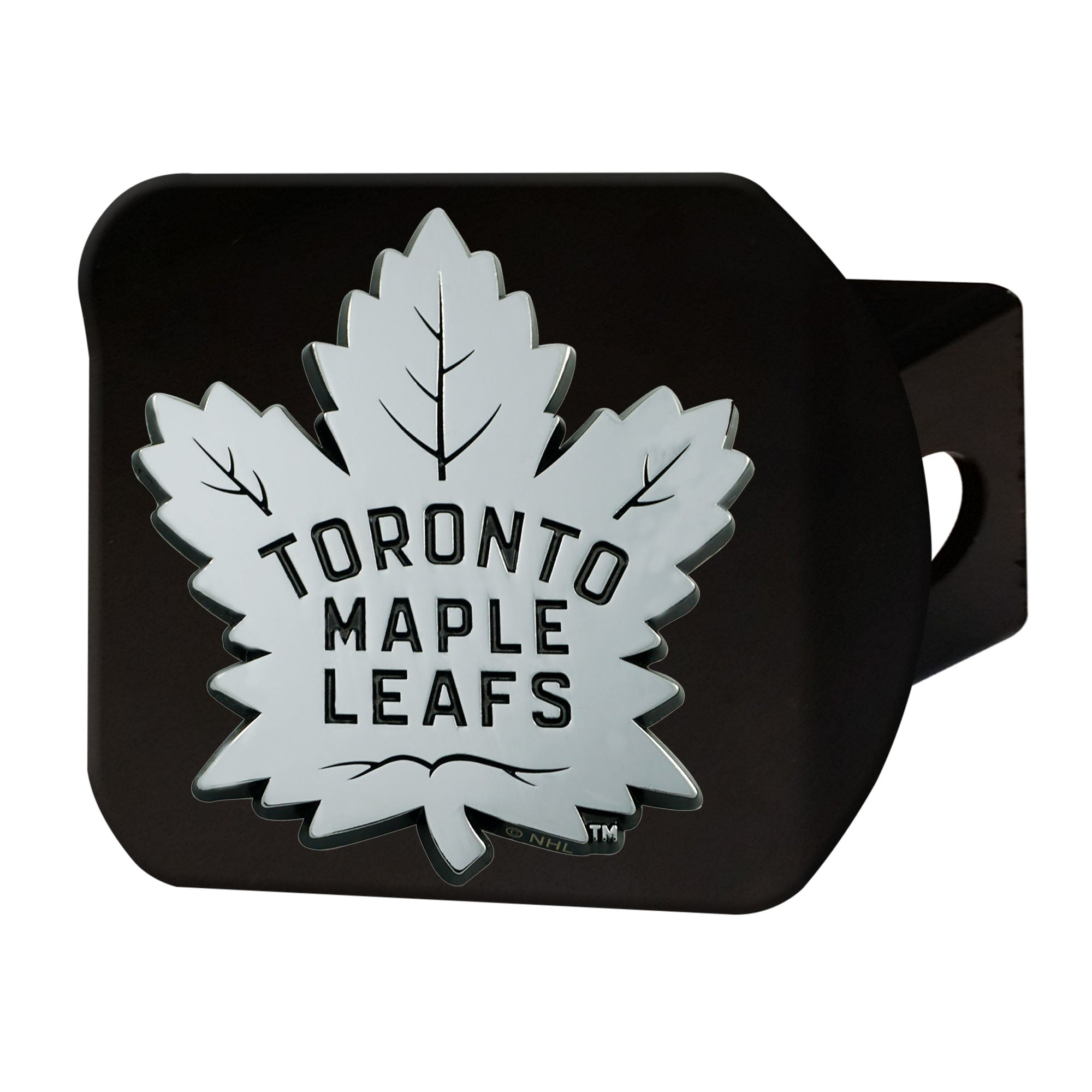"NHL - Toronto Maple Leafs Hitch Cover - Chrome on Black 3.4""x4"""