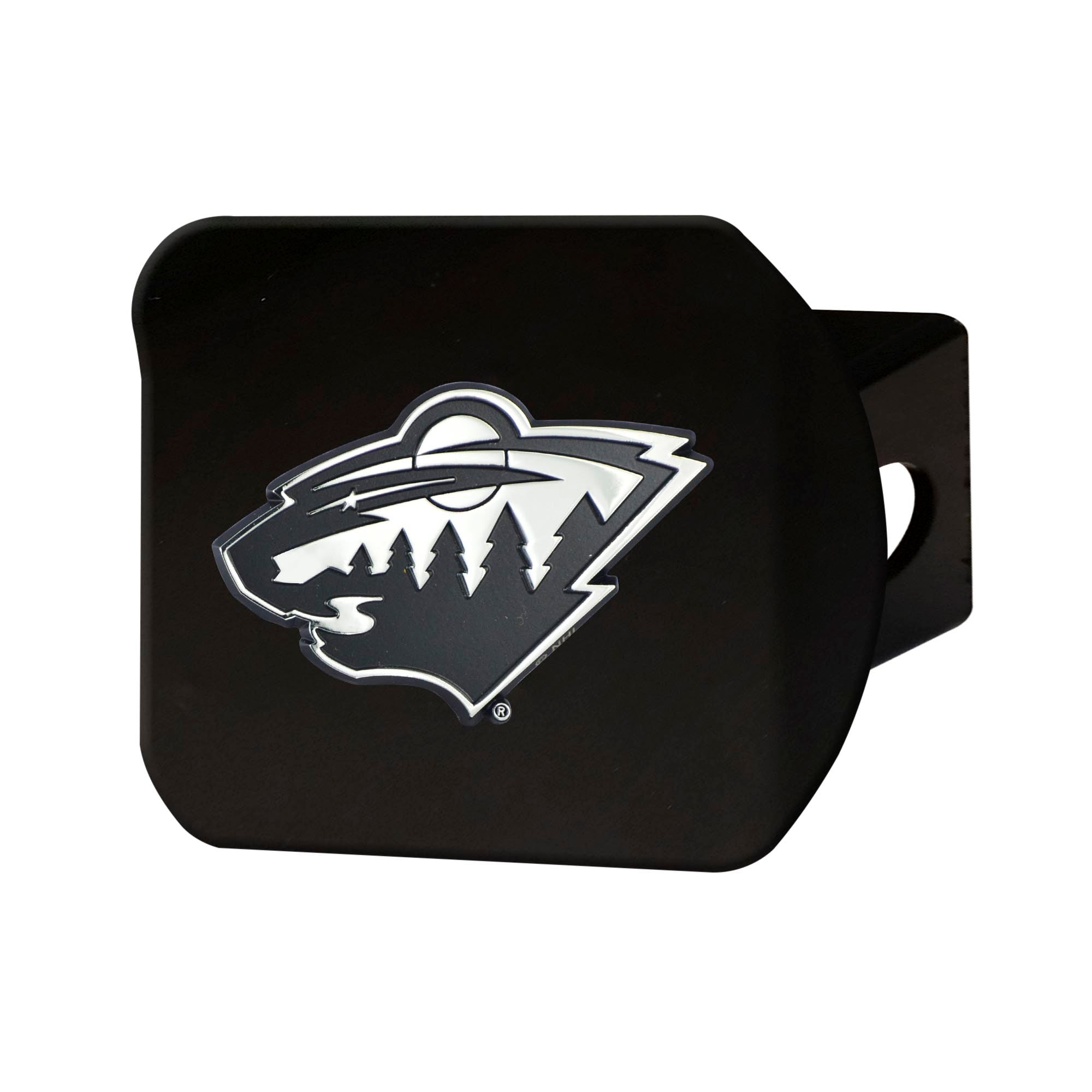 "NHL - Minnesota Wild Hitch Cover - Chrome on Black 3.4""x4"""