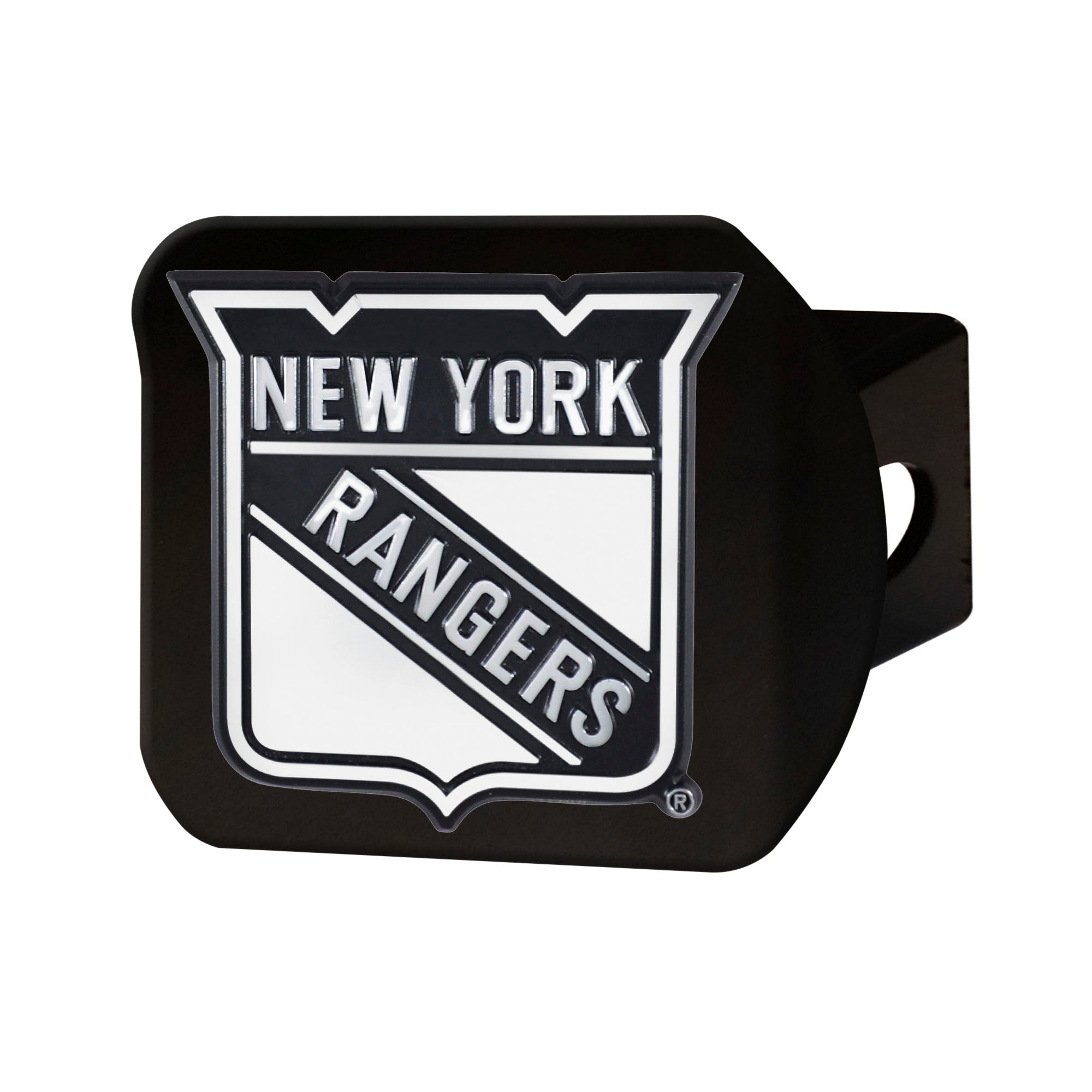 "NHL - New York Rangers Hitch Cover - Chrome on Black 3.4""x4"""