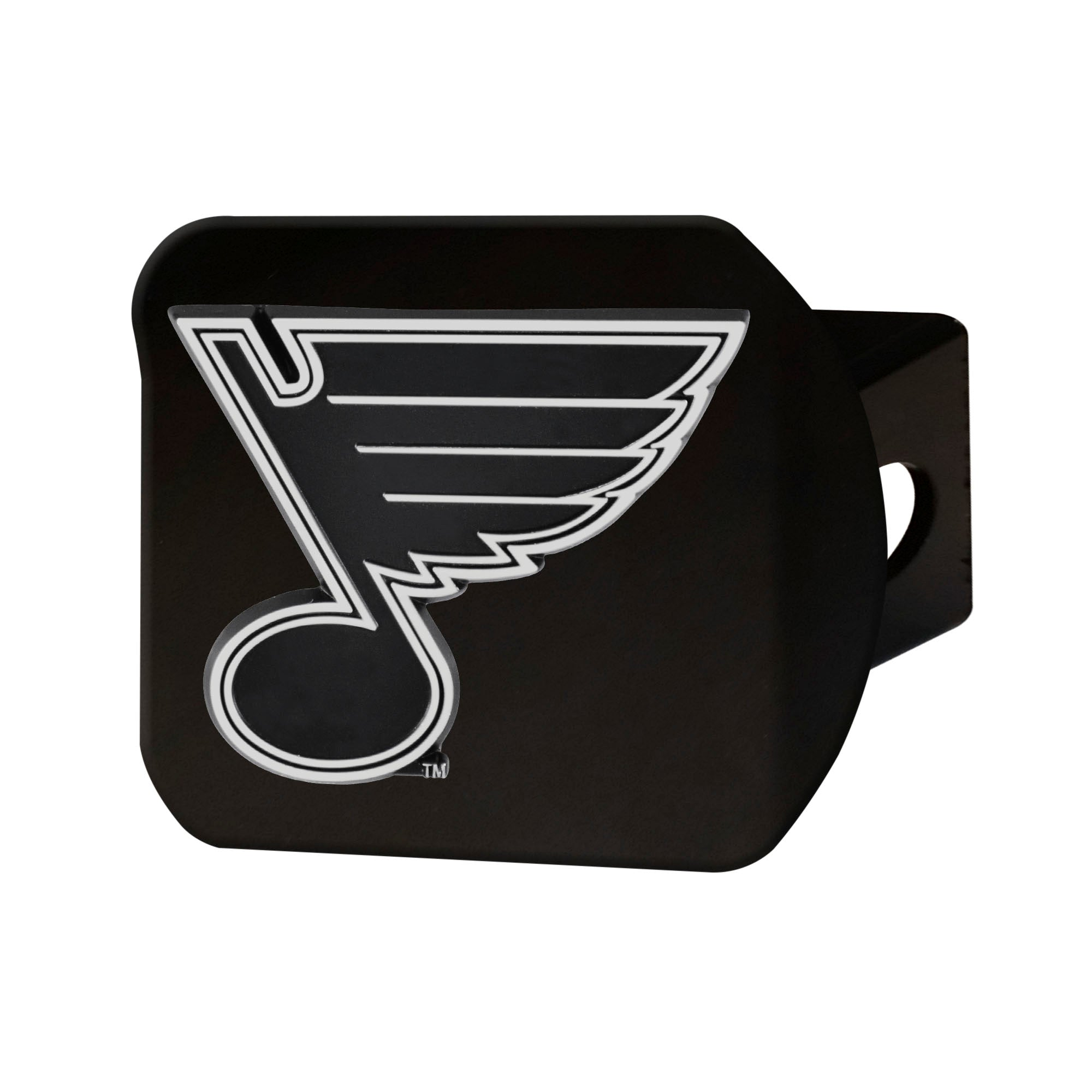 "NHL - St. Louis Blues Hitch Cover - Chrome on Black 3.4""x4"""