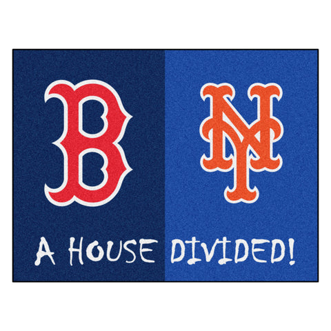 "MLB House Divided - Red Sox / Mets House Divided Mat 33.75""x42.5"""