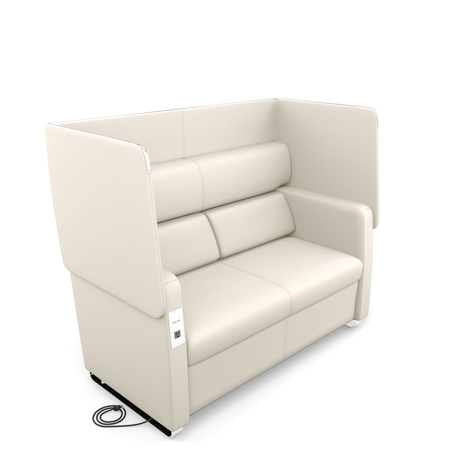 Admirable 2202 Lin Morph Series Vinyl Soft Seating White 1 Ac Outlet 2 Usb Ports 500 Lb Capacity Privacy Panel Lounge Dual Sofa Chair Alphanode Cool Chair Designs And Ideas Alphanodeonline