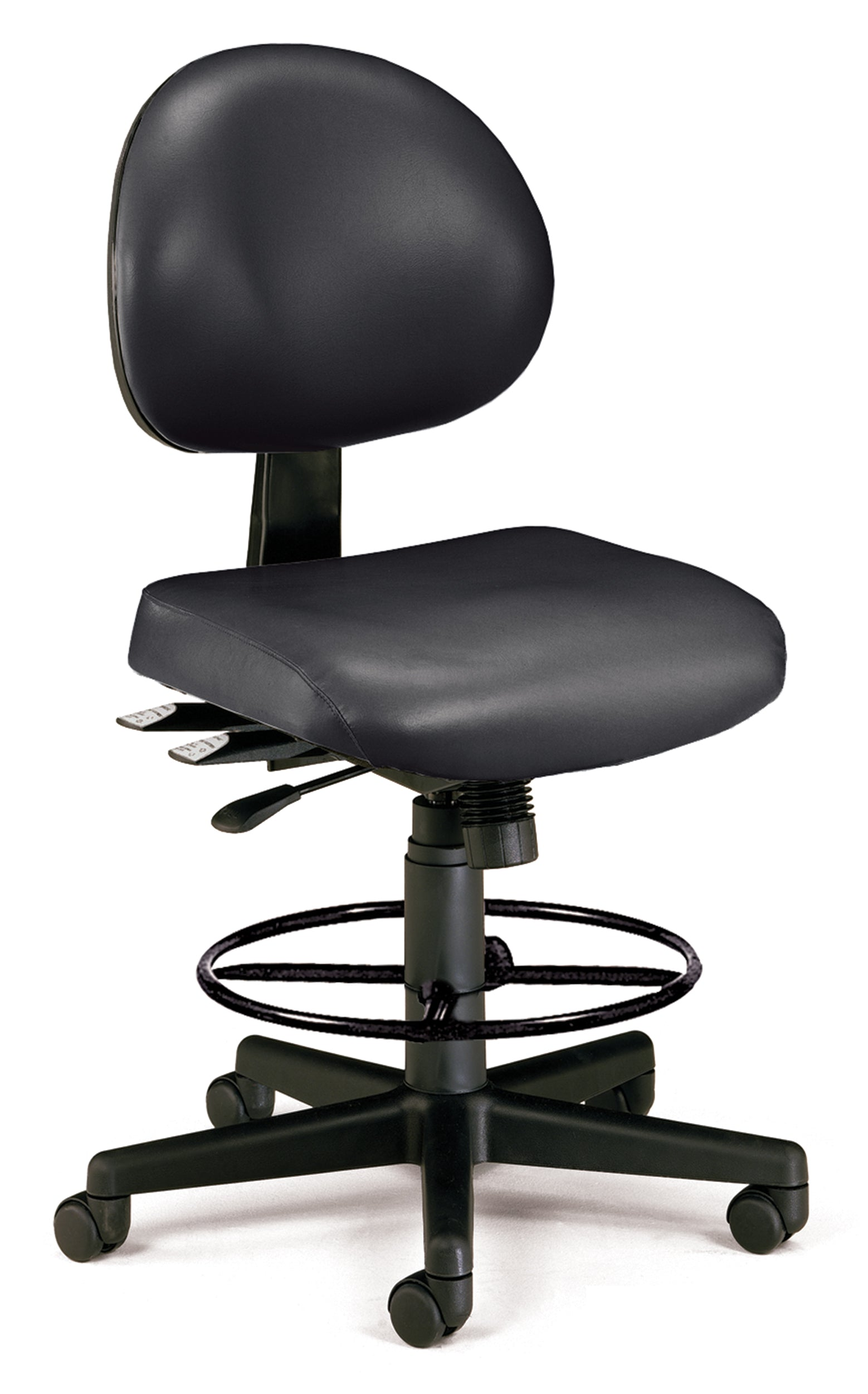 24-Hour Ergonomic Multi-Adjustable Vinyl Armless Drafting Kit Chair