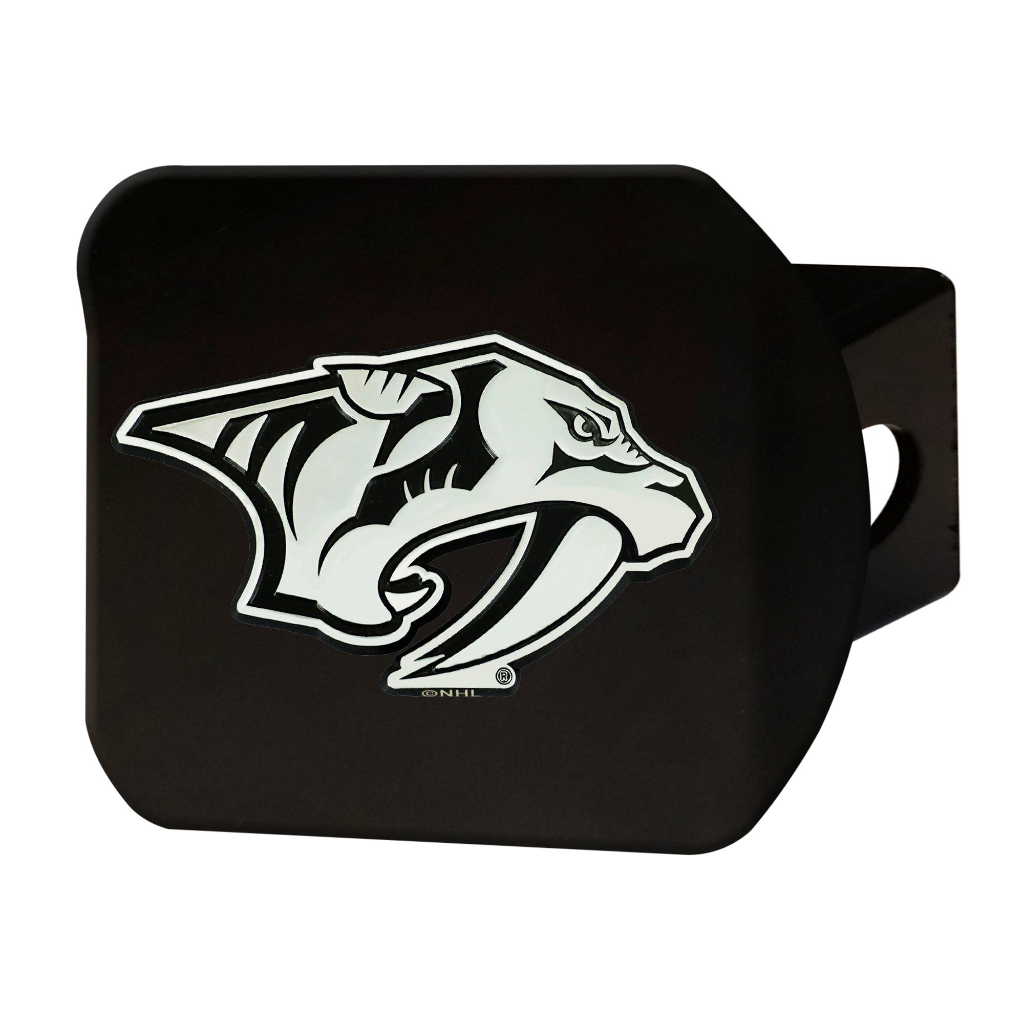 "NHL - Nashville Predators Hitch Cover - Chrome on Black 3.4""x4"""