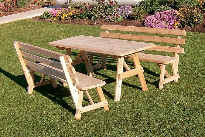 Outdoor Garden Furniture Table With 2 Backed Benches