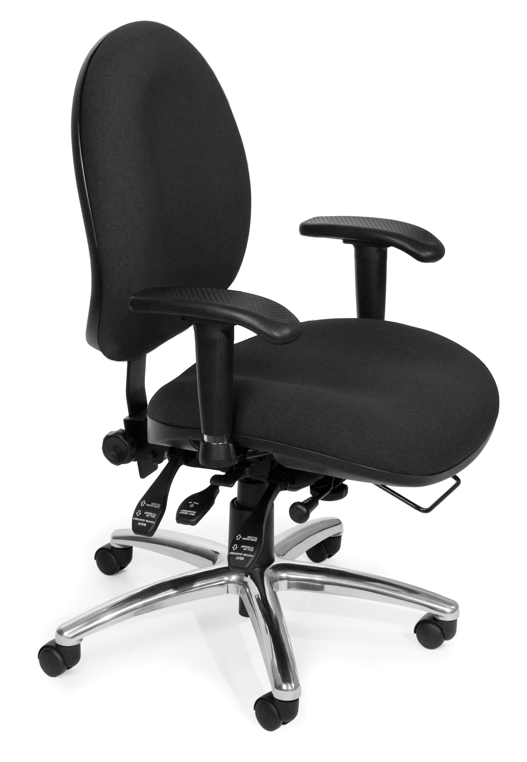 Ofminc Multi-Adjustable Ergonomic Upholstered Swivel Task Arms Chair