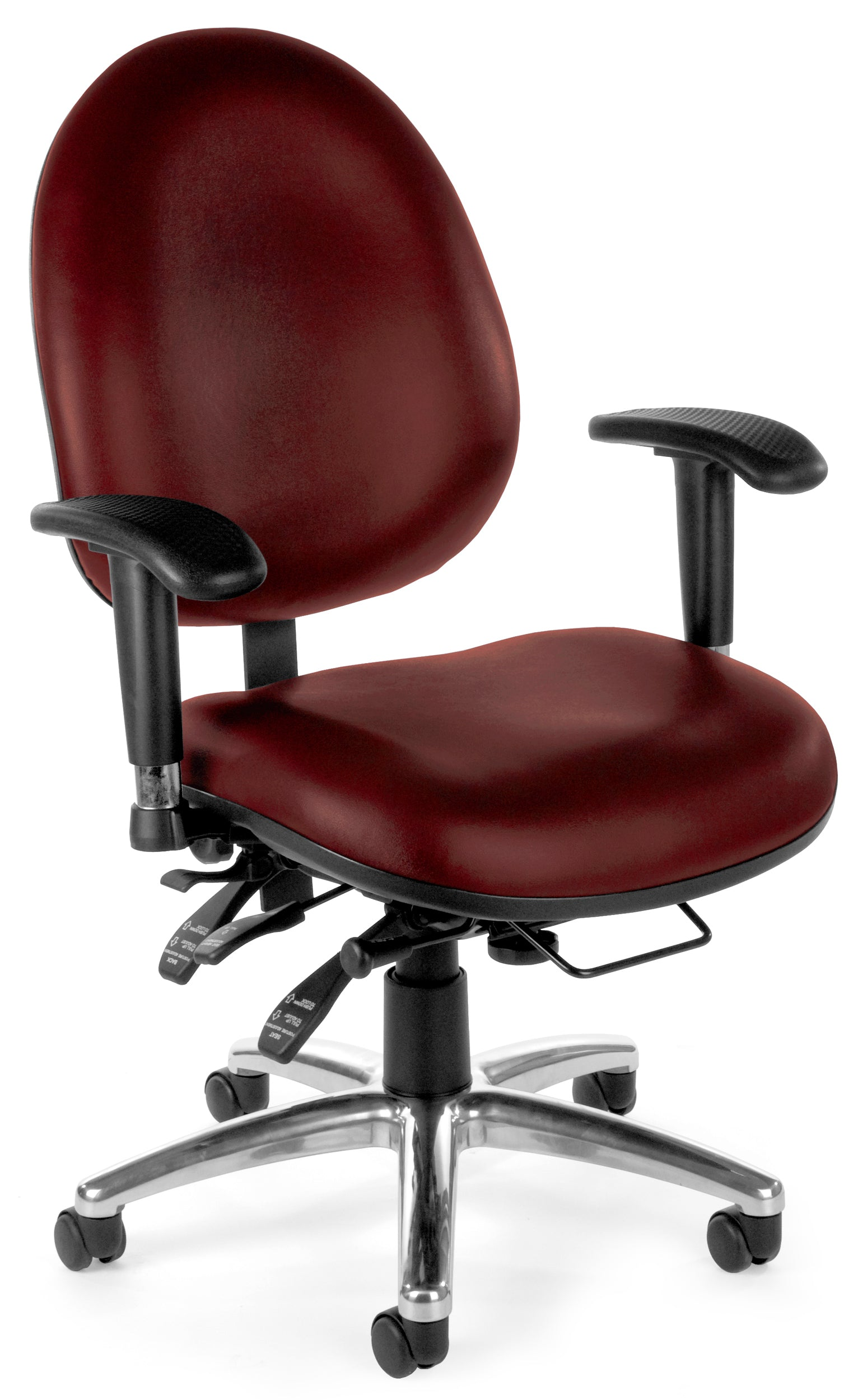 Ofminc Multi-Adjustable Ergonomic Vinyl Swivel Task Arms Chair