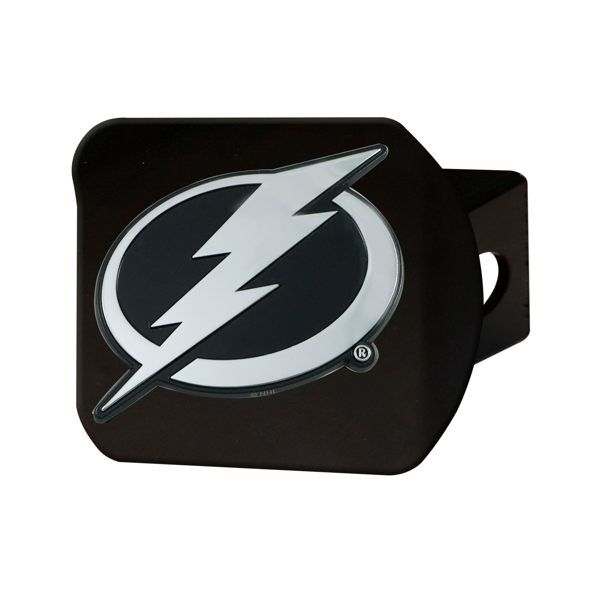 "NHL - Tampa Bay Lightning Hitch Cover - Chrome on Black 3.4""x4"""