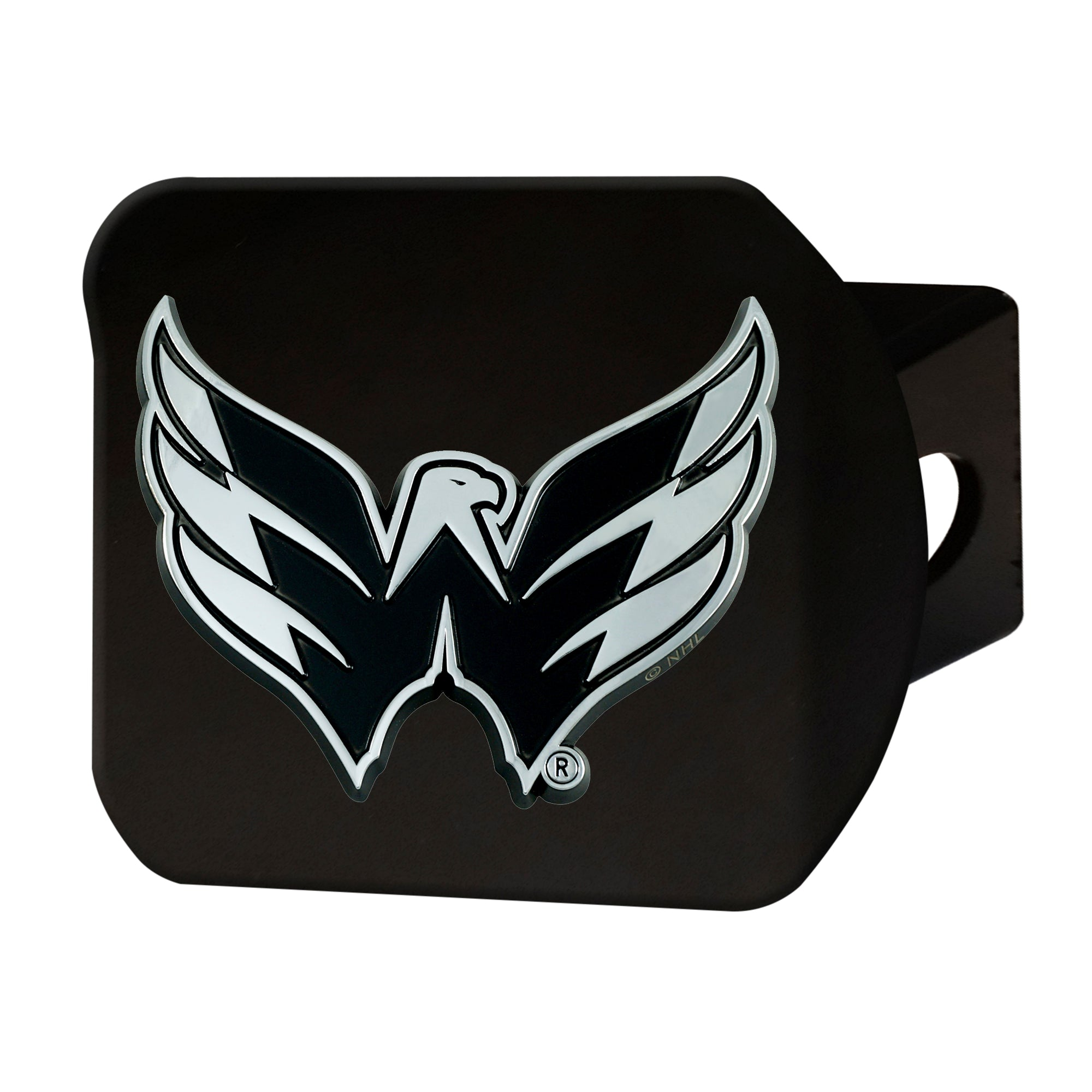 "NHL - Washington Capitals Hitch Cover - Chrome on Black 3.4""x4"""