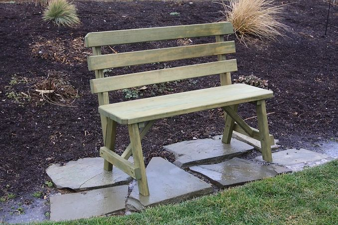 Outdoor Garden Furniture Traditional Backed Bench Only Made In USA