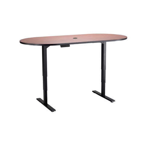 bedinhome - 2544CYBL Racetrack 72 Inch x 36 Inch Cherry Top With Black Steel Base Electric Height-Adjustable Teaming Table - Safco - Height-Adjustable Teaming Table