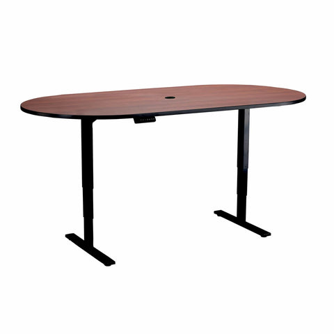 bedinhome - 2547CYBL Racetrack 84 Inch x 42 Inch Cherry Top With Black Steel Base Electric Height-Adjustable Teaming Table - Safco - Height-Adjustable Teaming Table