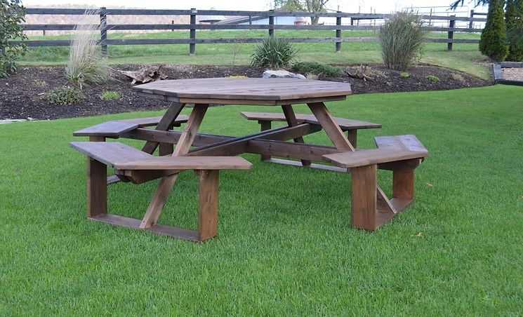 Outdoor Garden Furniture 54 Inch Octagon Walk-In Table-Specify for FREE 2 Inch Umbrella Hole Made In USA