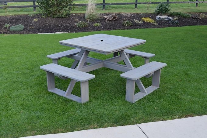 Outdoor Garden Furniture 44 Inch Square Walk-In Table-Specify for FREE 2 Inch Umbrella Hole Made In USA