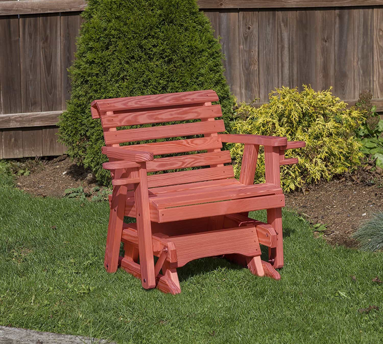 Amish Roll Back Pressure Treated Pine 2 Ft-cup holders GLIDER CHAIR