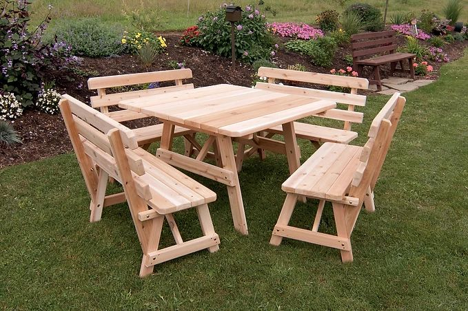 Outdoor Furniture 43 Inch Sq. Table With 4 Backed Benches