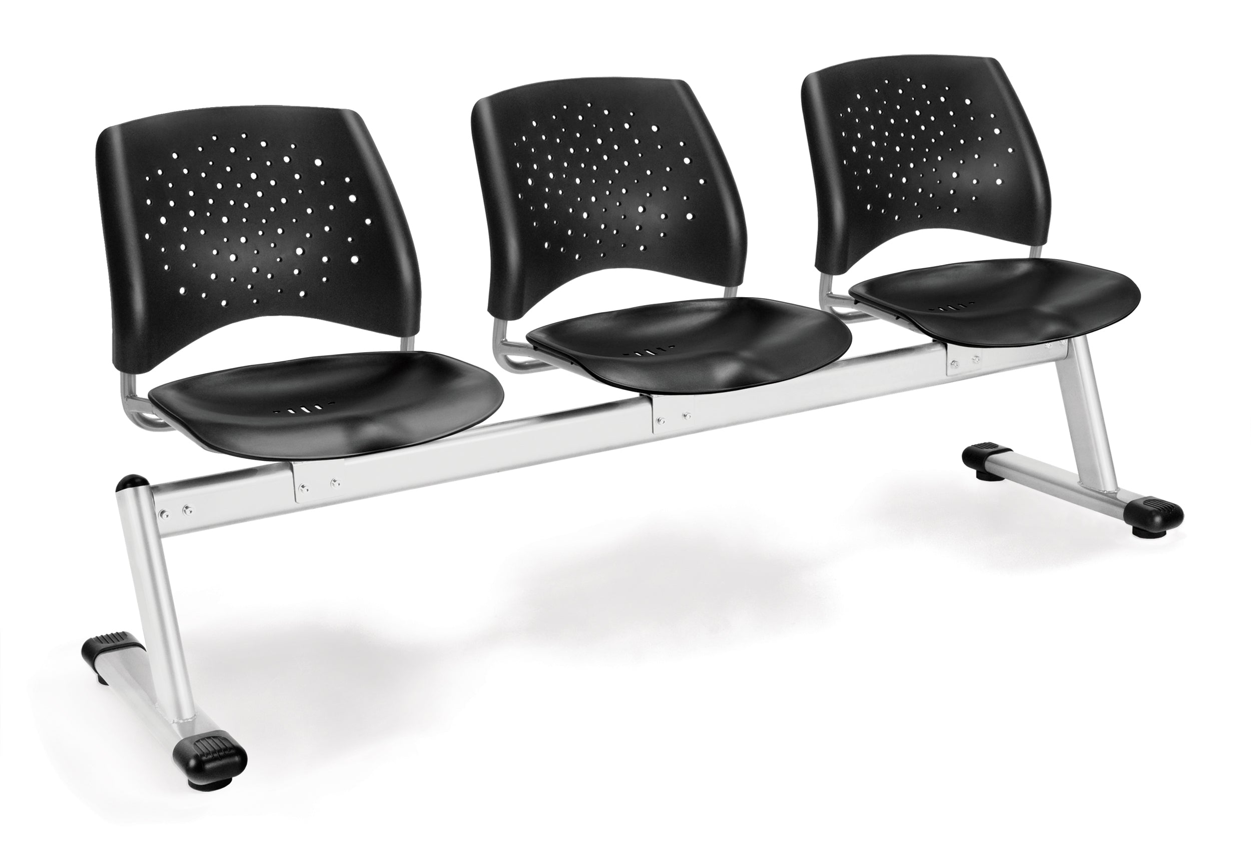 Ofminc Model 323-P Stars 3-Unit Beam Seating with 3 Plastic Seats