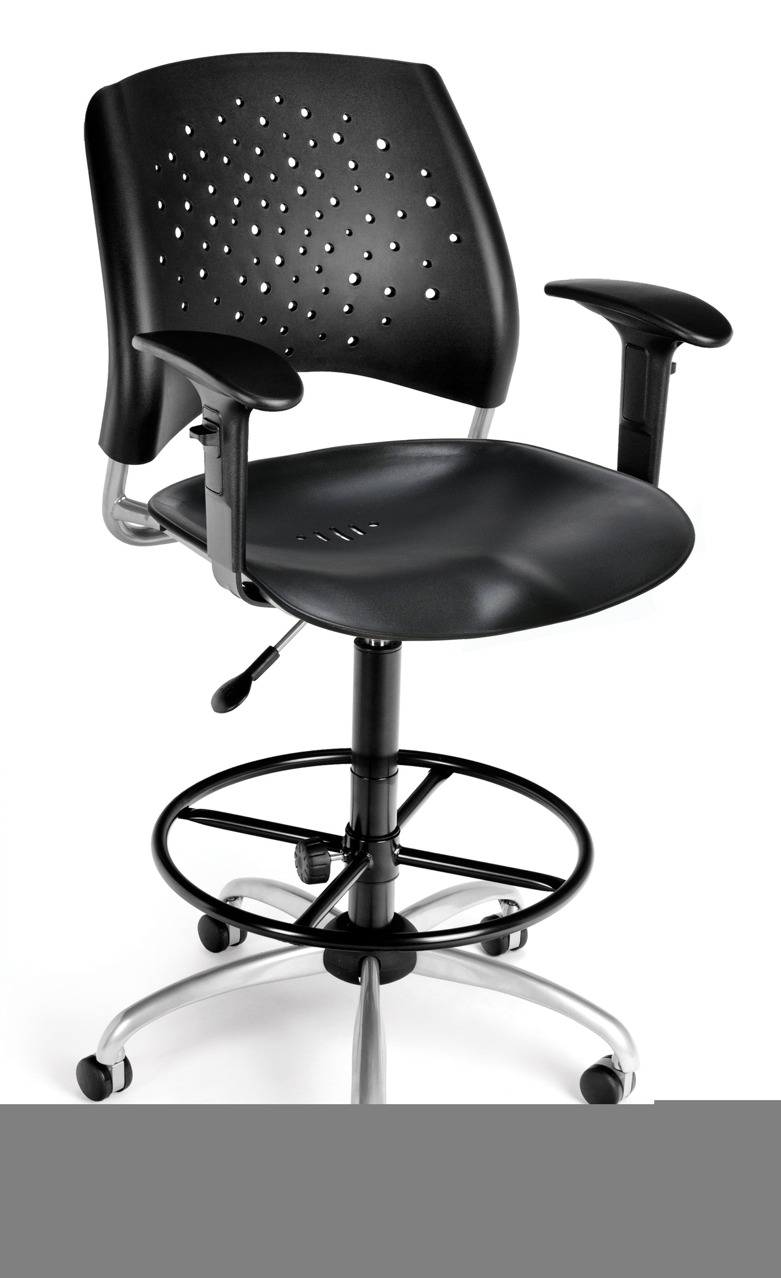 326-P-AA3-DK Star Series Plastic Swivel Chair with Arms & Drafting Kit