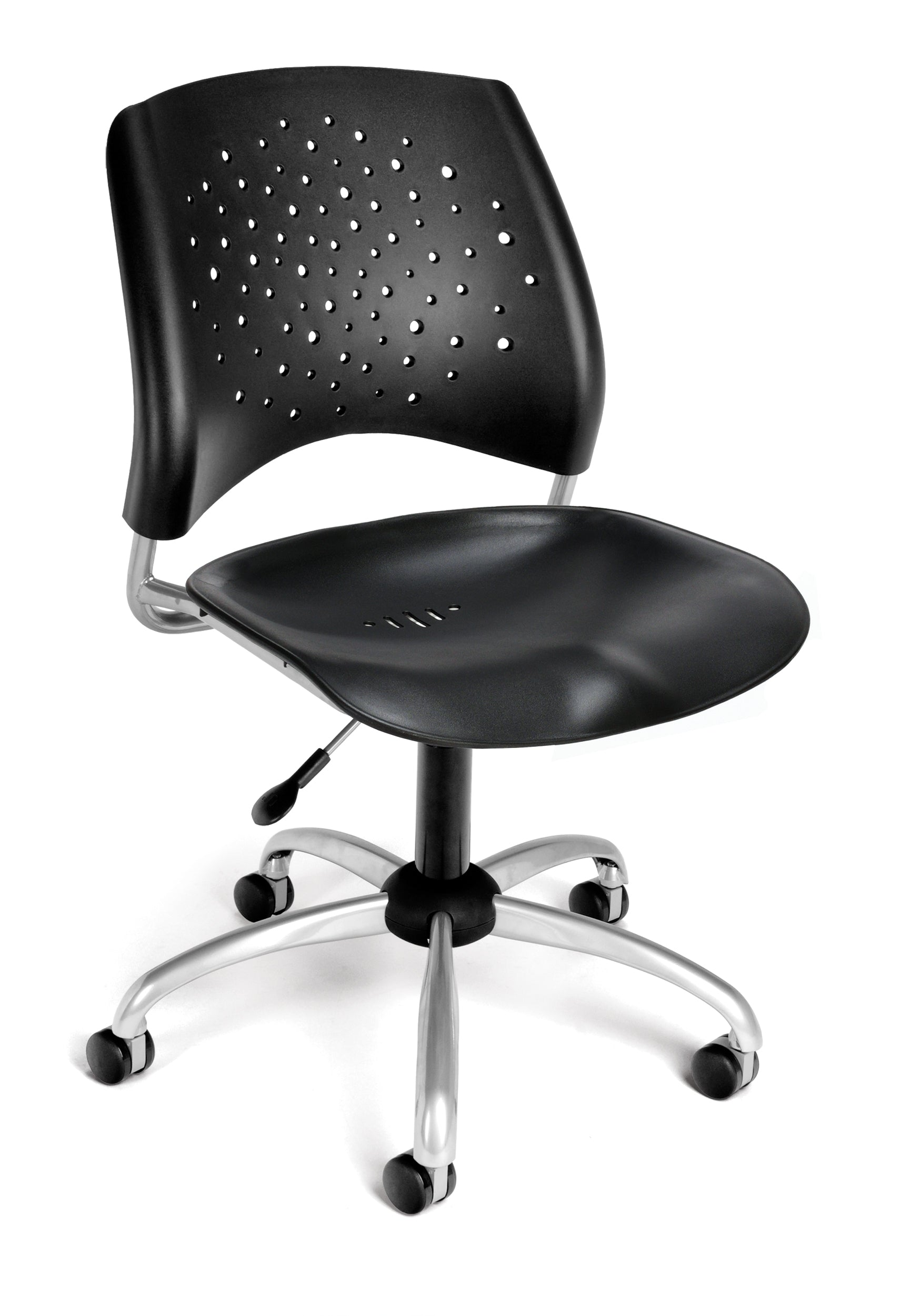 Ofminc Model 326-P Stars Series Armless Plastic Swivel Chair