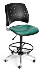 bedinhome - 326-VAM-DK-602 Office Furniture Stars Series triple-curve design Vinyl seat steel frame Swivel Teal Chair with Drafting Kit - ofminc - Office Chairs