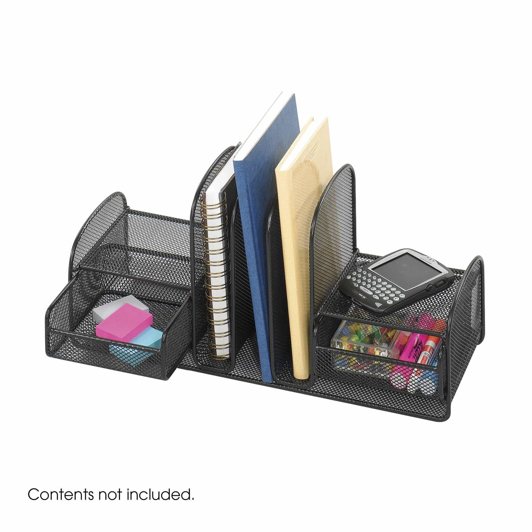 bedinhome - 3263BL Onyx Office Supply Three Upright Vertical Sections/Two Baskets Wire Mesh Desktop Black Organizer - Safco - Desktop Organizer