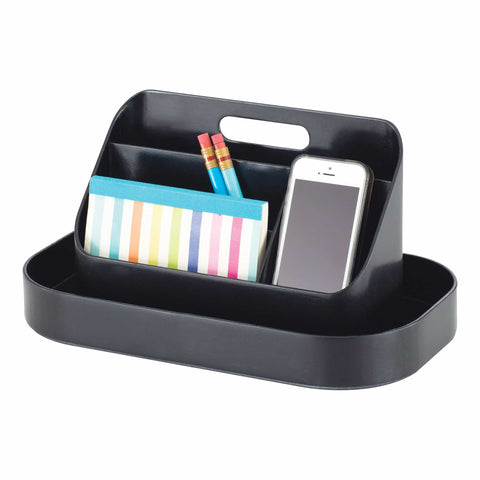 bedinhome - 3286BL Desktop Organizer Durable Black Plastic Storage Portable Caddy Holding Pens, Pencils & Paperclips - Safco - Portable Caddy