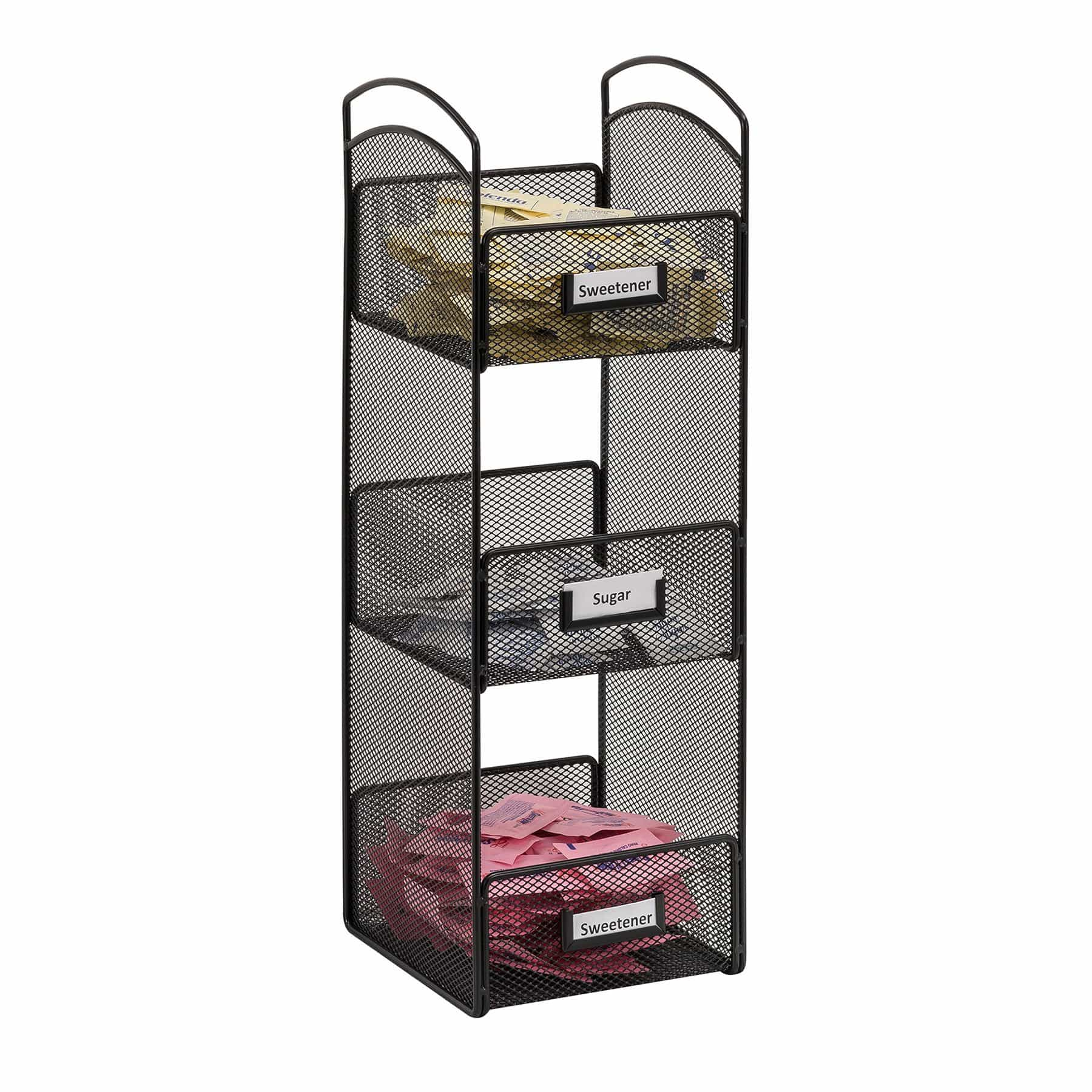 bedinhome - 3290BL Onyx Home Supply Two Metal Wire Handles Three Storage Compartments Tower Break Room Black Organizer - Safco - Break Room Organizer