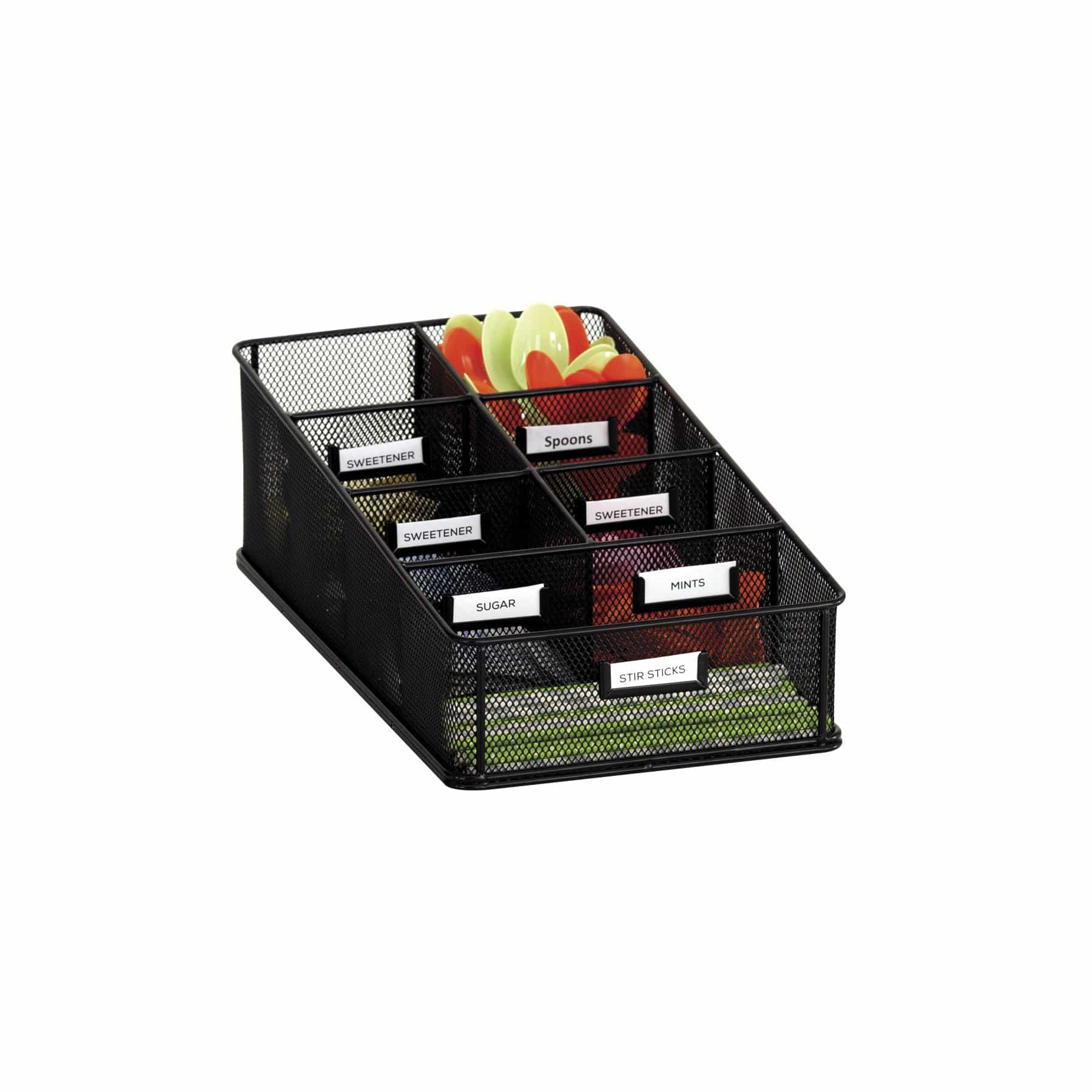 bedinhome - 3291BL Onyx Break Room Supplies Six Equal Sized and One Larger Compartment Black Condiment Carton - Safco - Condiment Carton
