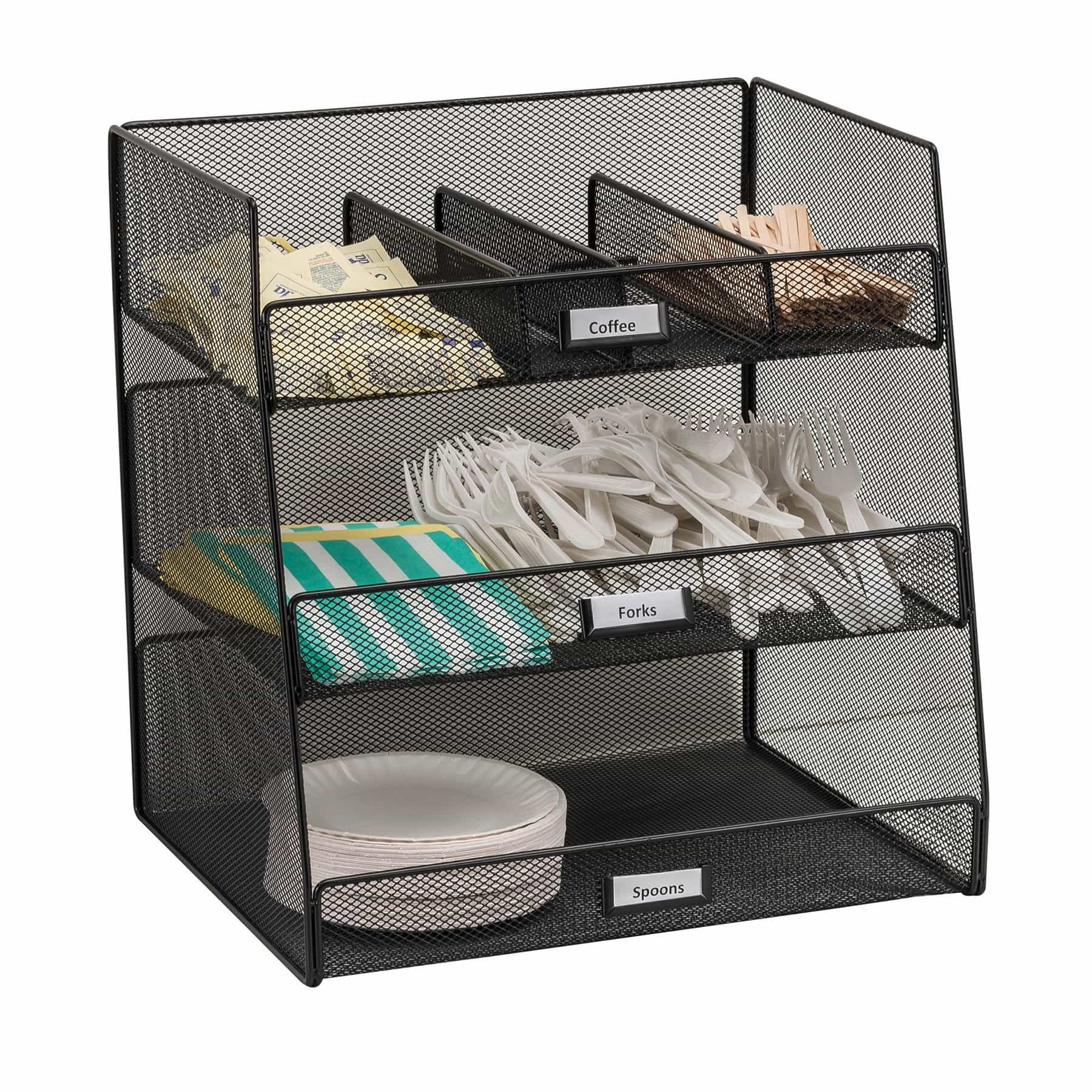 bedinhome - 3293BL Onyx Three large Compartments & Three Removable/Adjustable Dividers Break Room Black Organizer - Safco - Break Room Organizer