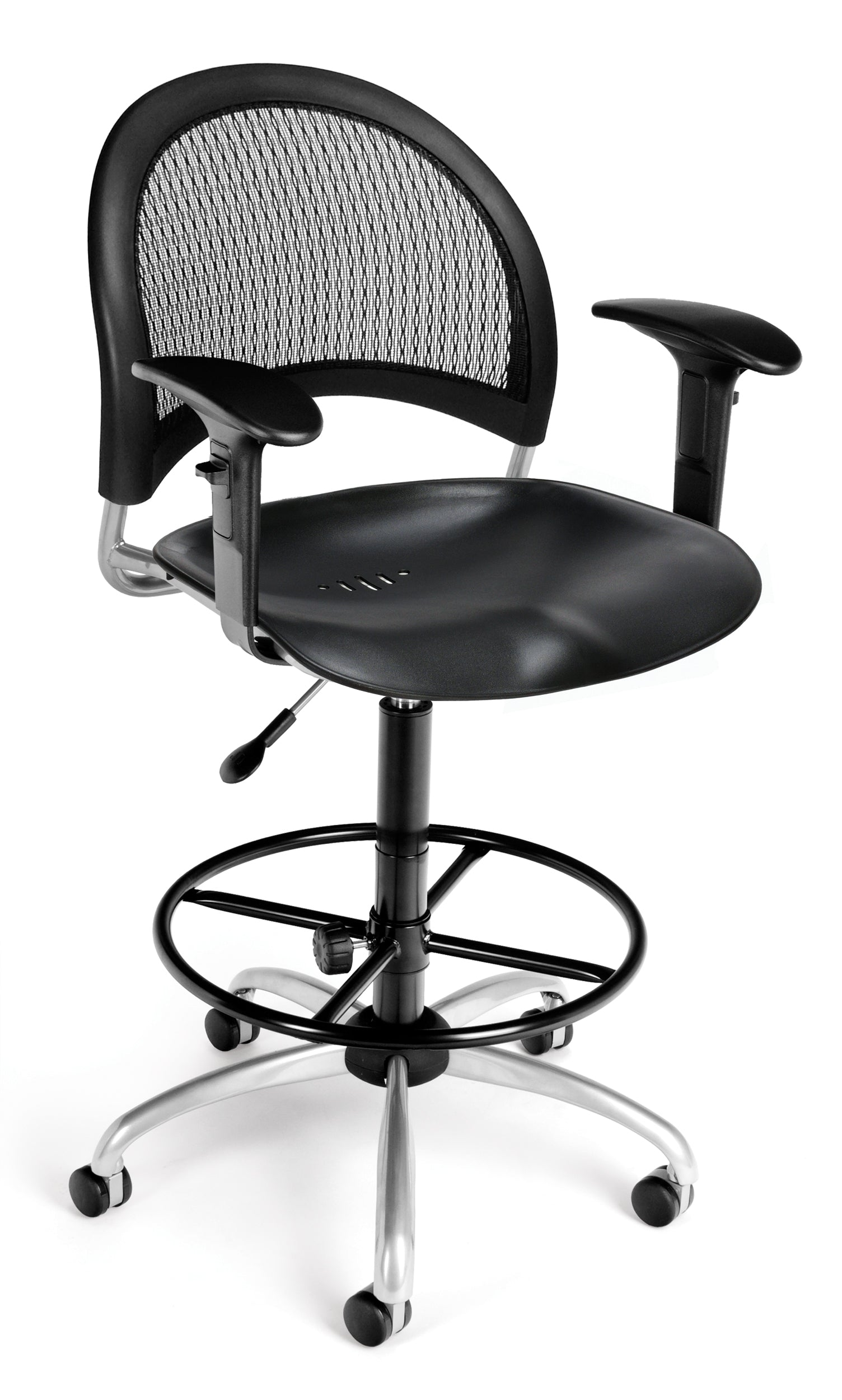 336-P-AA3DK Moon Series Plastic Swivel Chair with Arms & Drafting Kit