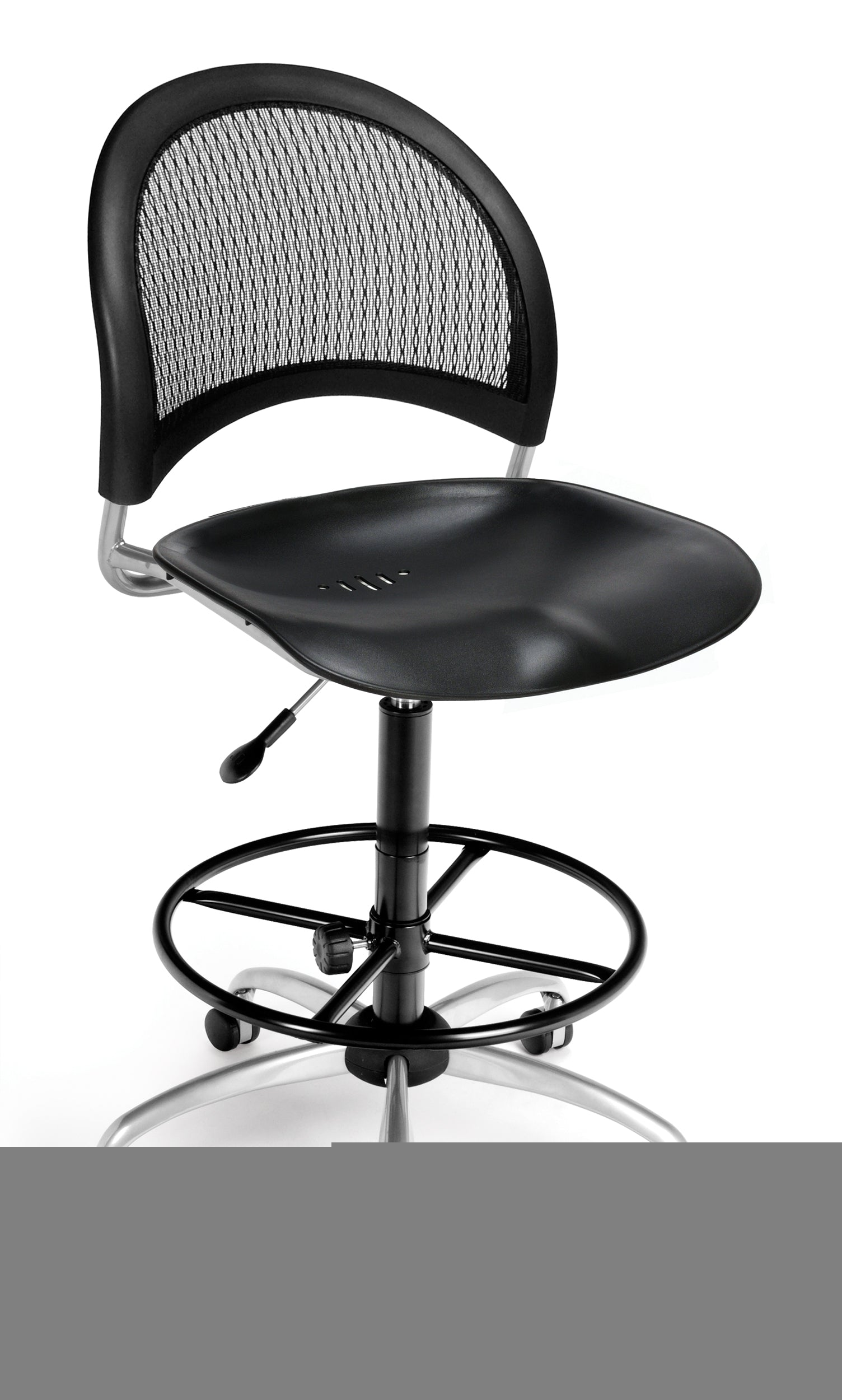 336-P-DK Moon Series Armless Plastic Swivel Chair with Drafting Kit