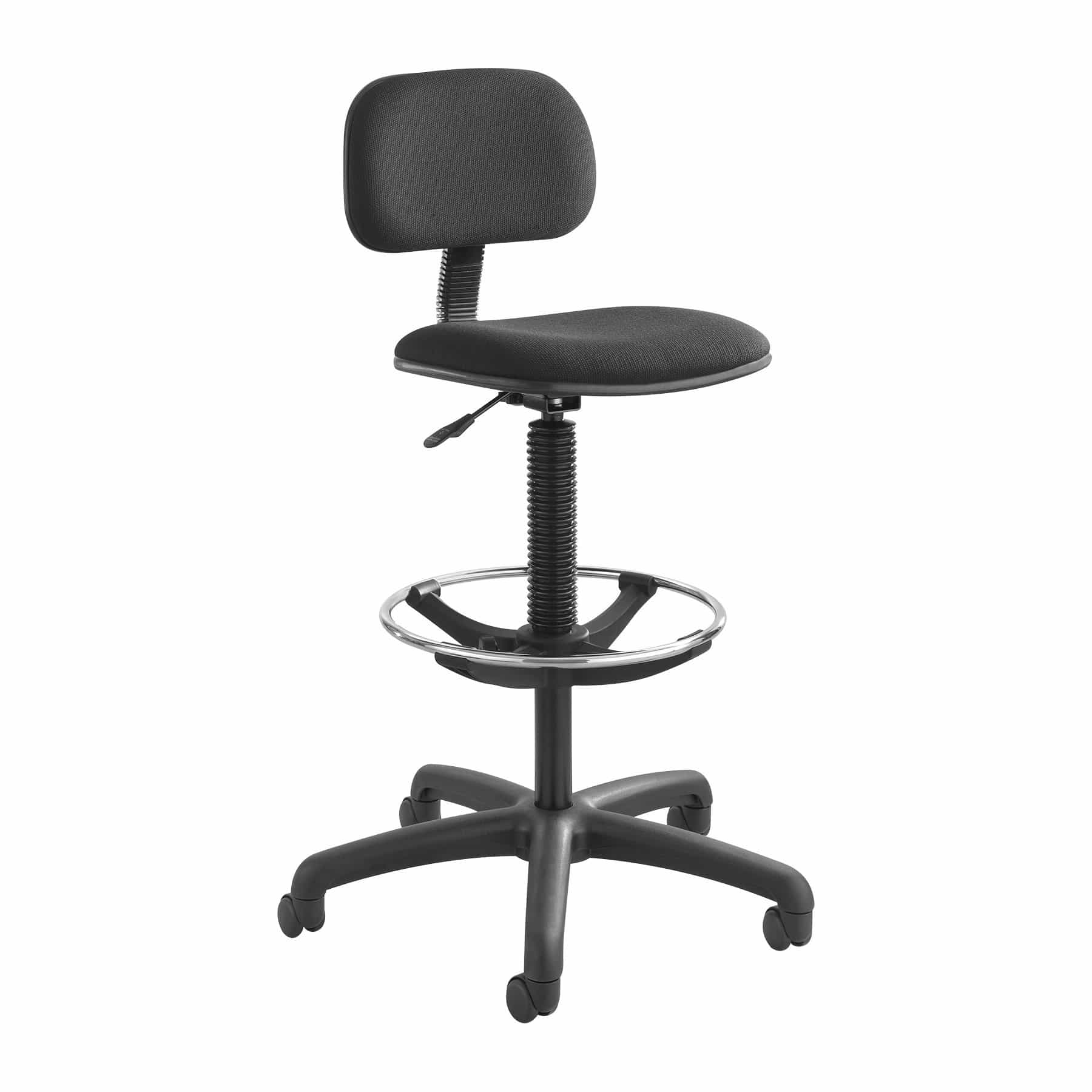 bedinhome - 3390BL Zippi 250 Lbs Weight Capacity Adjustable Chrome Footring Swivel Economical Extended-Height Black Drafting Chair - Safco - Drafting Chair