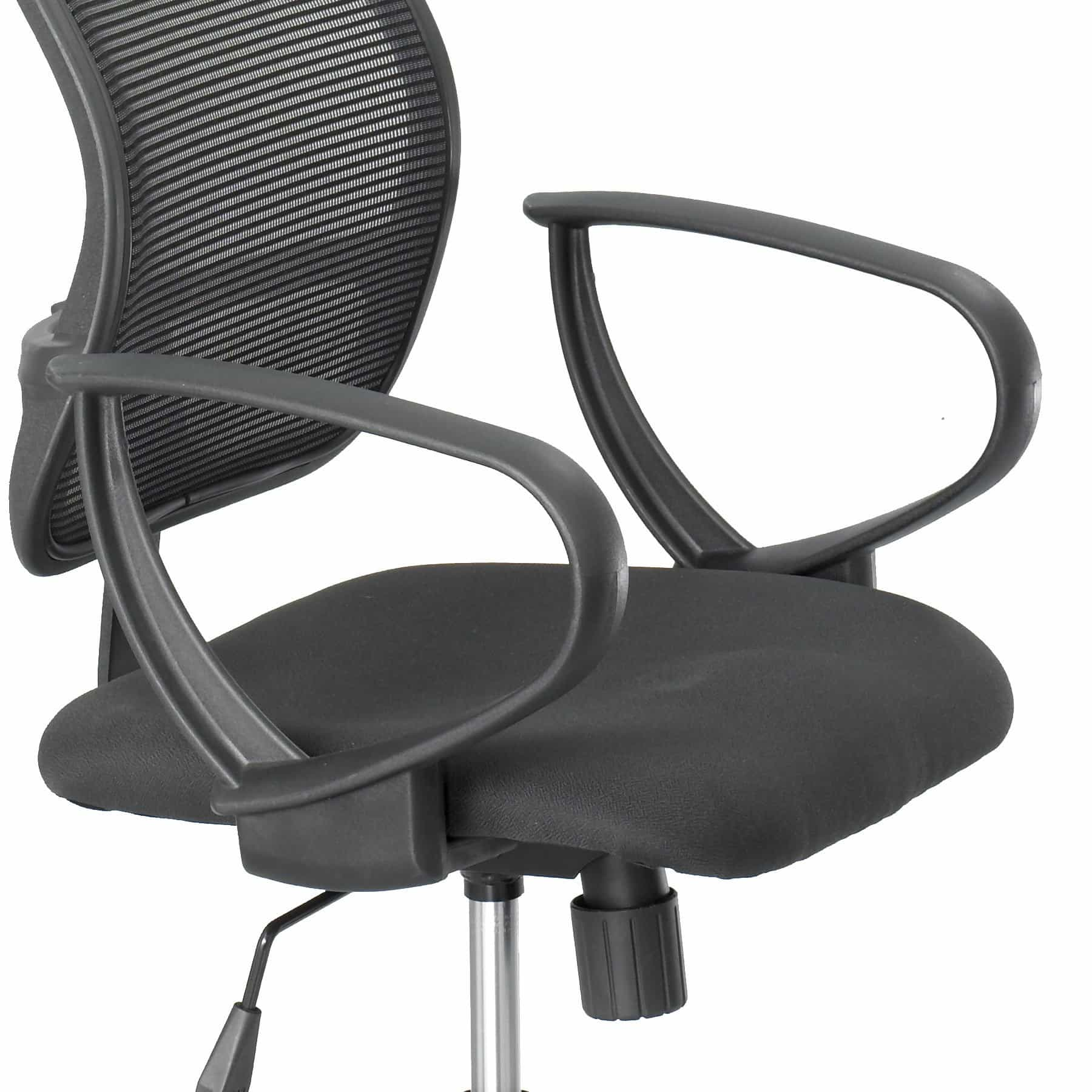 bedinhome - 3396BL Loop Arms For Vue Adjust Height Swivel Breathable Mesh Extended-Height Black Nylon Drafting Chair (Set) - Safco - Drafting Chair