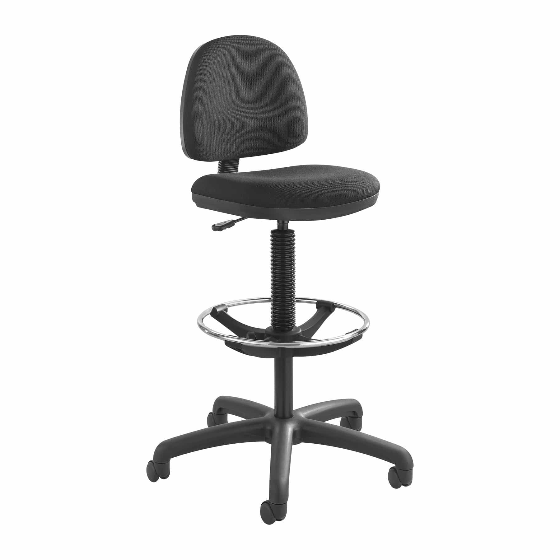 bedinhome - 3401BL Office Work Precision Extended-Height Swivel Black Drafting Chair with Footring & Dual Hooded Casters - Safco - Drafting Chair