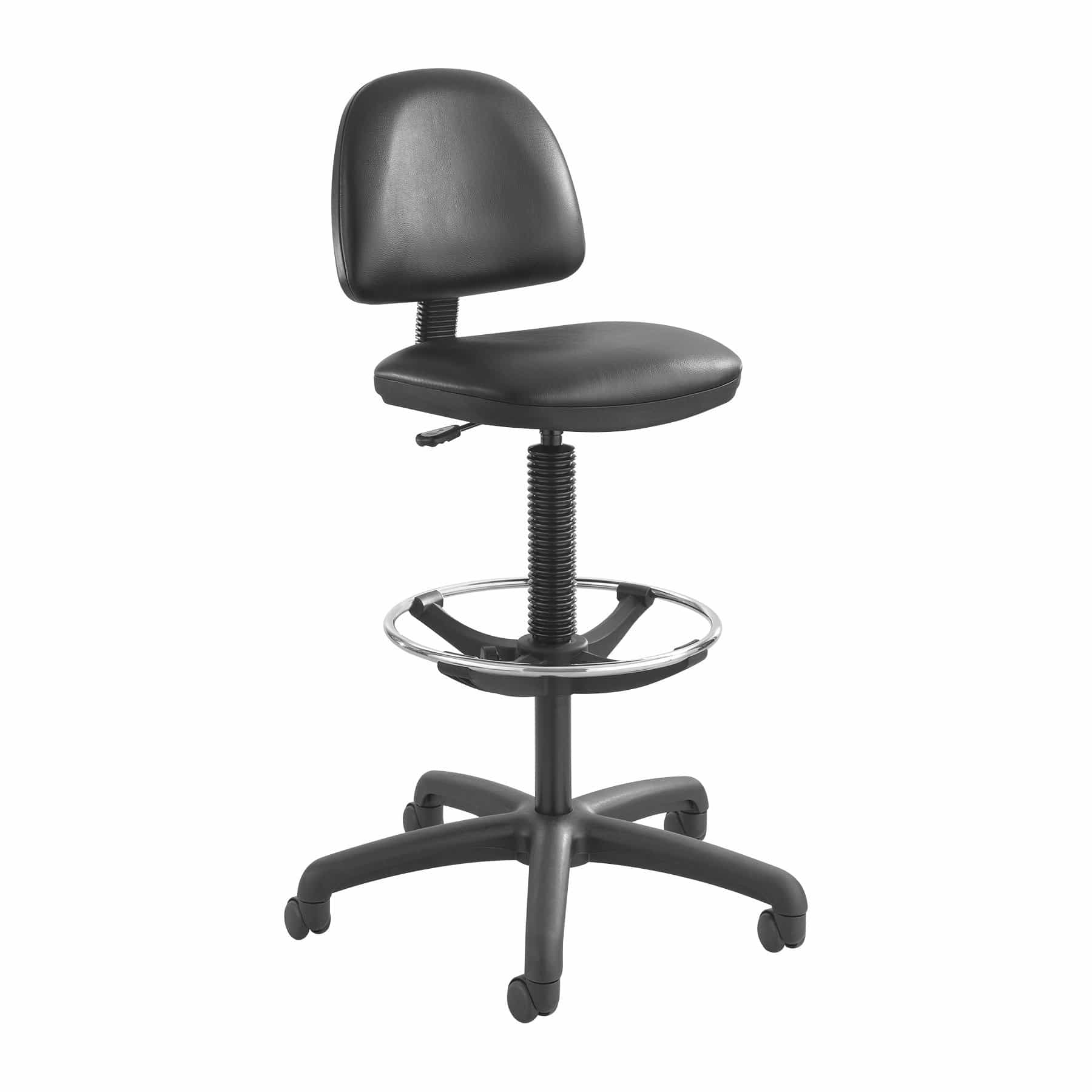 bedinhome - 3406BL Office Work Precision Vinyl Swivel Extended-Height Black Drafting Chair With Footring & Dual Hooded Casters - Safco - Drafting Chair
