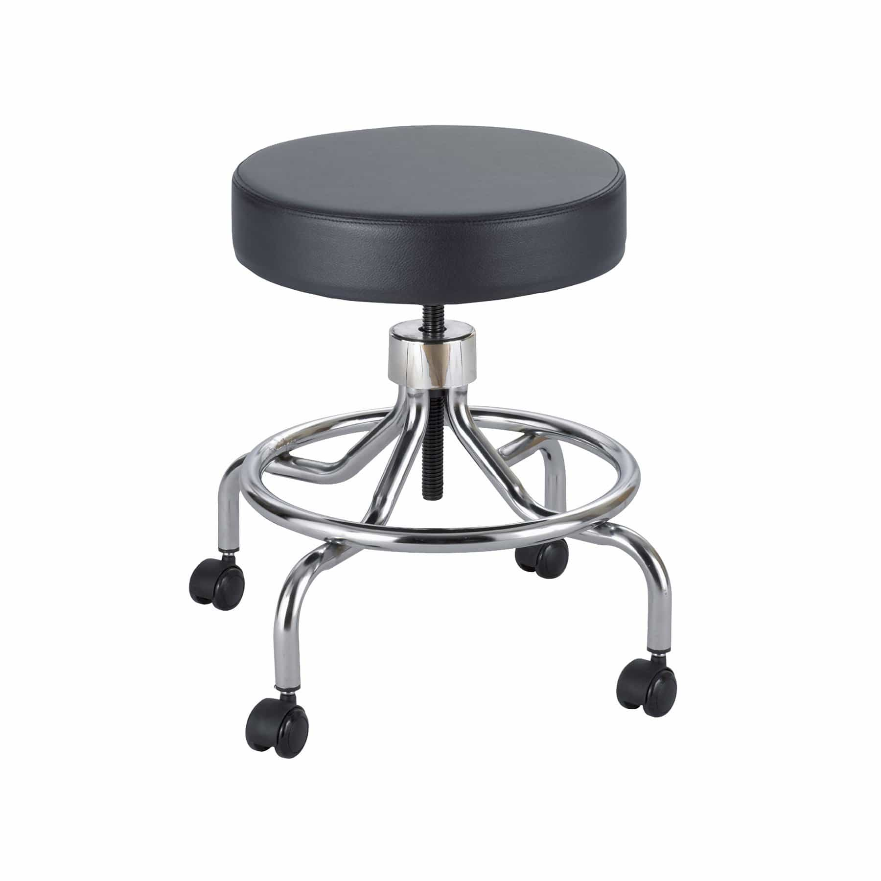 bedinhome - 3432BL Hospital Use Comfortable 5-inch Height Range Adjustment Swivel Chrome Plated Steel Base Black Rolling Lab Stool - Safco - Rolling Lab Stool