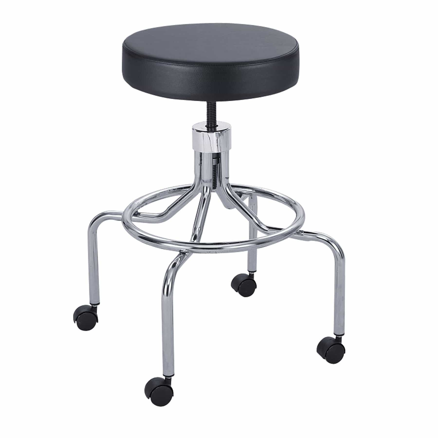 bedinhome - 3433BL Comfortable 250 lbs Weight Capacity Seat Height Adjustment Black Rolling Lab Stool with Screw Lift High Base - Safco - Lab Stool