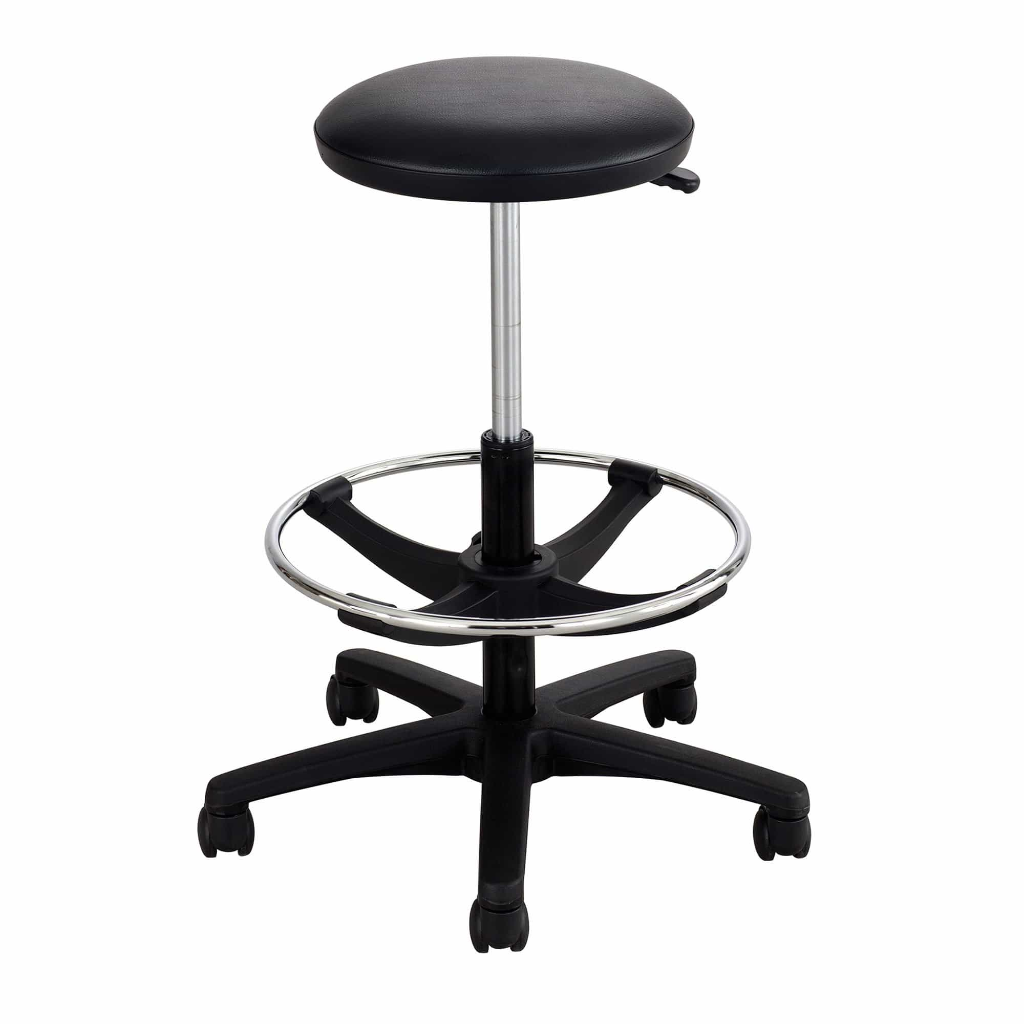 bedinhome - 3436BL 250 Lbs Capacity Black Five-Star Hooded Dual Caster Base Swivel Extended-Height Lab Stool With Upholstered Vinyl Seat - Safco - Extended-Height Lab Stool