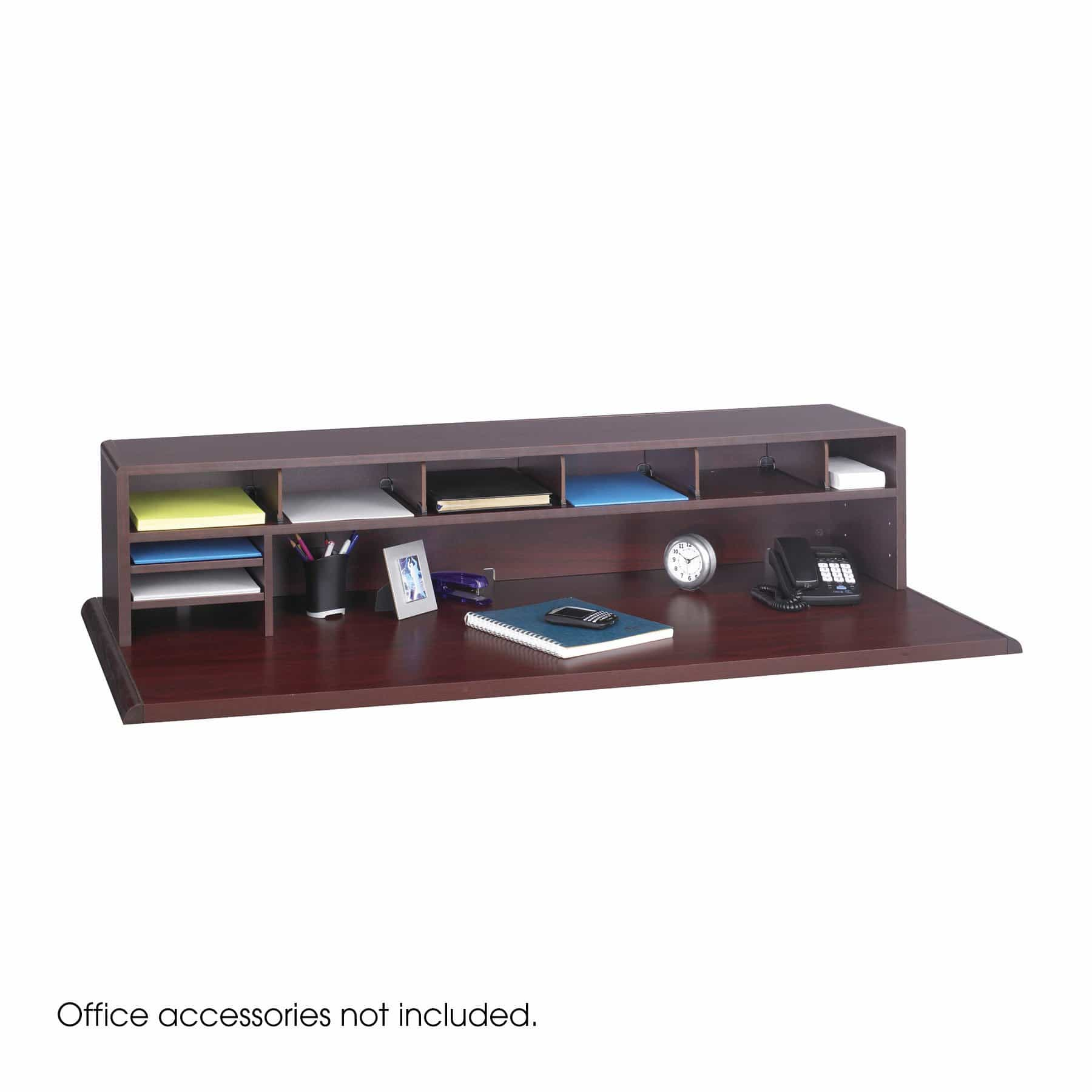 bedinhome - 3671MH 58 Inch W Mahogany Low Profile adjustable shelves & dividers Desk Top Organizer - Safco - Wood Desktop Organizers