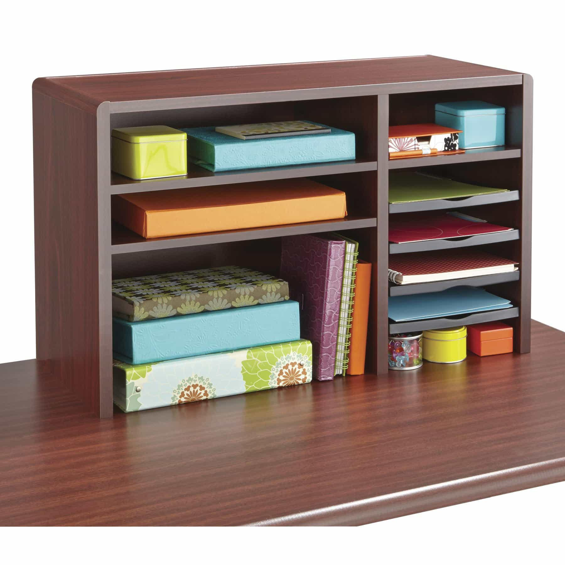 bedinhome - 29 In W Mahogany fixed letter-size shelf & 2 shelves Compact Desk Top Organizer - Safco - Wood Desktop Organizers