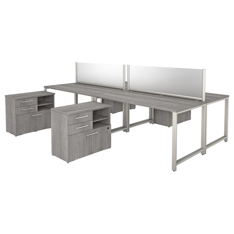 400 Series 4 Person Workstation with Table Desks & Storage