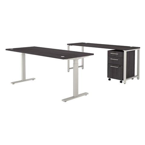 400 Series Height Adjustable Standing Desk with Credenza & Drawers